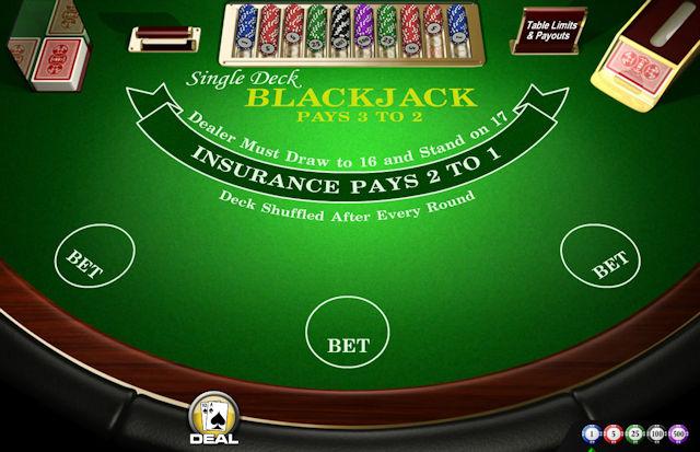 Blackjack z enojnim kompletom kart